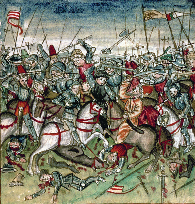 This German manuscript illustration from 1457 shows the weltering melee at the Battle of Lechfeld. The heavily armored Germans had the advantage.