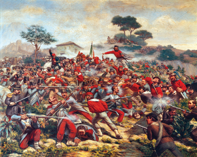 ORIGINAL: Italy - 19th century, Expedition of the Thousand (Unification of Italy) - Giuseppe Garibaldi at the Battle of Calatafimi, 15 May 1860 (Detail). Painted by Remigio Legat, 1860. Oil on canvas. 121cm x 180cm.