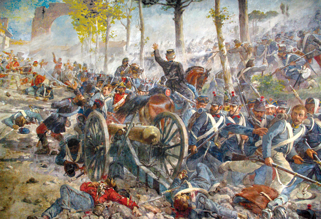 The outnumbered Redshirts successfully drive away the Neapolitan forces at Capua during the Battle of the Volturno River. It was the largest, and last, battle of Garibaldi's successful campaign to unite Italy.