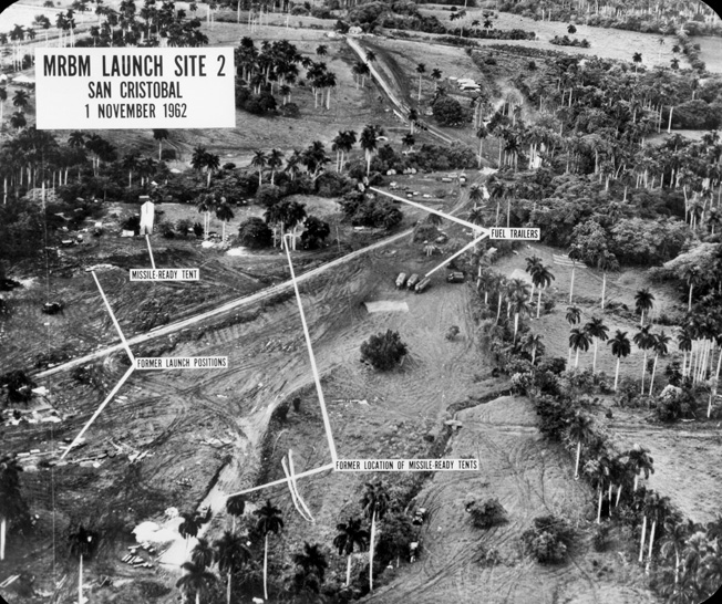 U-2 spy photo on November 1, 1962, shows Russian ballistic missile sites at San Cristobal, Cuba.
