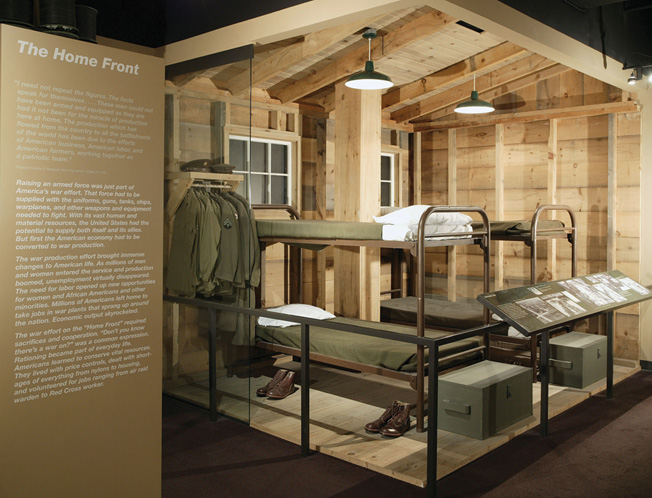 The Home Front exhibit includes a re-created basic training barracks.