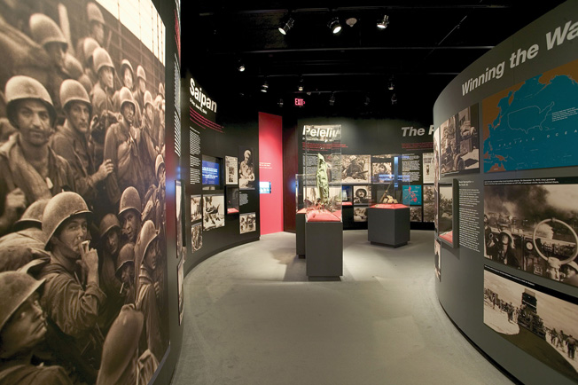 D-Days in the Pacific exhibits explore the landings at Iwo Jima, Guadalcanal, Tarawa, and other island-hopping battles in the Pacific Theater.