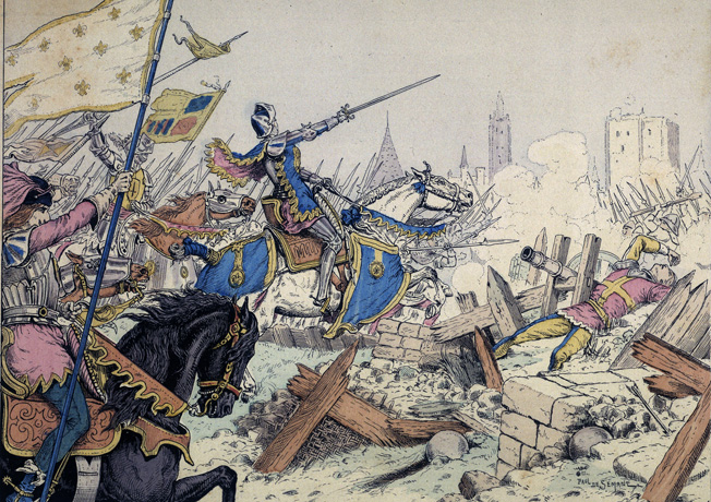 In her accustomed place at the front, Joan leads French troops in an attack on the English-held fortress at Beaugency on June 16, 1429.