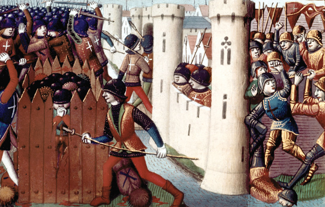 French troops relieve the 210-day-long siege of Orleans in 1429. Joan was wounded by an arrow while assaulting the Tourelles gate.