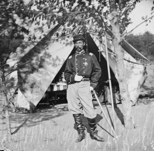 "Embodying his nickname, ""Natty,"" Duffie was photographed near Bull Run in 1862 while serving as colonel of the 1st Rhode Island Cavalry."
