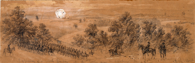 "Union cavalry assembles near Middleburg, Virginia, in June 1863. Duffie's unsupported command was nearly wiped out, reduced to ""gallant debris"" by the Confederates."