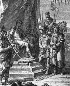 Now a bound captive after being betrayed by his father-in-law, Jugurtha glares at his captor, Roman commander Sulla.