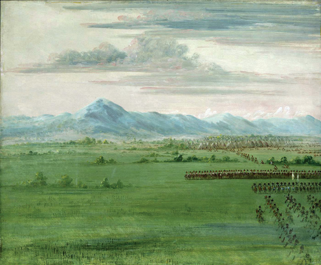 Indians ride out from their wigwams in the distance to meet dragoons in another Catlin painting.