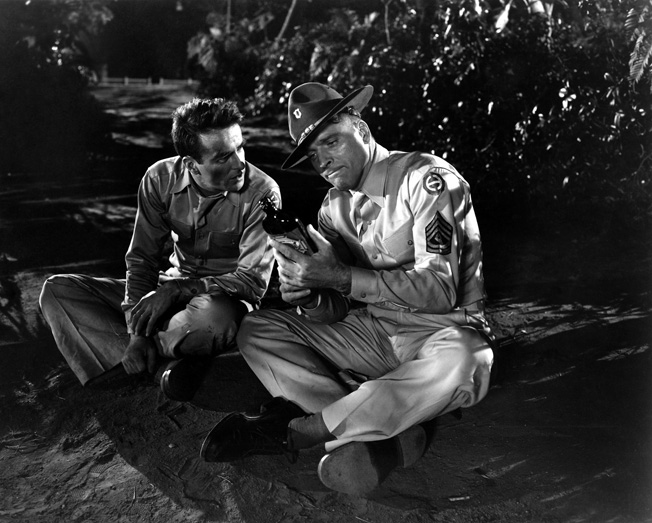 Montgomery Clift (right) and Burt Lancaster starred in From Here to Eternity, the 1953 film adaptation of author James Jones's best-selling book. Frank Sinatra and Donna Reed won Academy Awards for their parts.