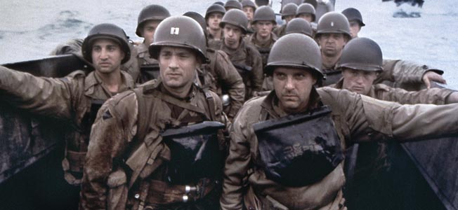 FILM: SAVING PRIVATE RYAN. U.S. troops preparing for the landing at Omaha beach Normandy on D-Day during World War II. Still from the film, 'Saving Private Ryan,' starring Tom Hanks and directed by Stephen Spielberg, 1998.