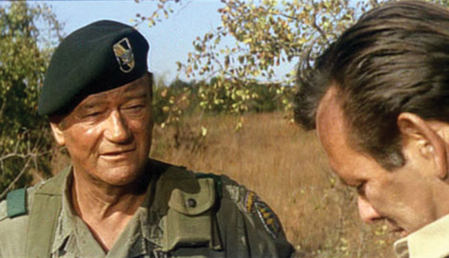 John Wayne's 1968 film, The Green Berets, was a conservative response to growing criticism of the Vietnam War. Wayne is shown with David Janssen.