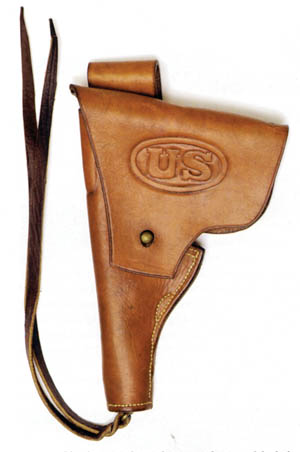 Modern reproduction of the cavalry holster used for the Savage test pistols.