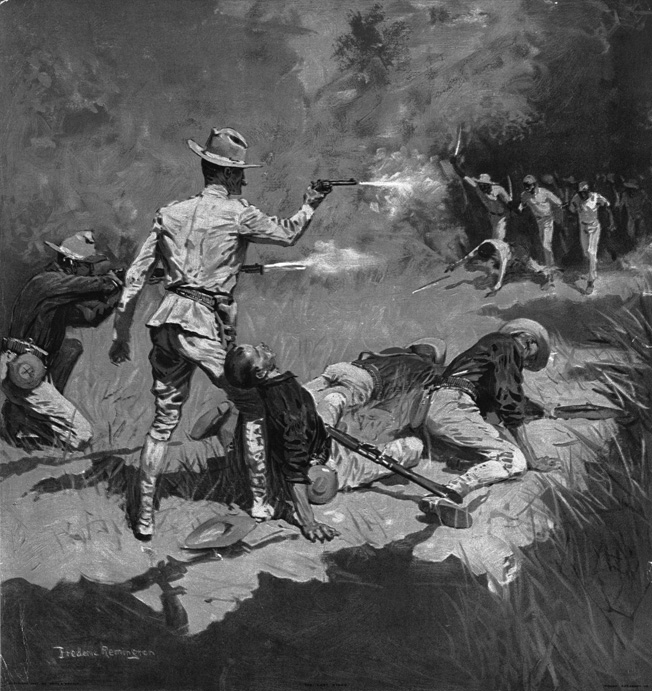 An American Army officer fires his Colt 1892 revolver at charging Filipino insurgents in this painting by Frederick Remington.