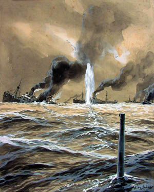 A German U-2 submarine torpedoes an Allied transport ship in the Atlantic Ocean during World War I.