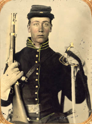 A period colorized photograph of an unidentified Union cavalryman.