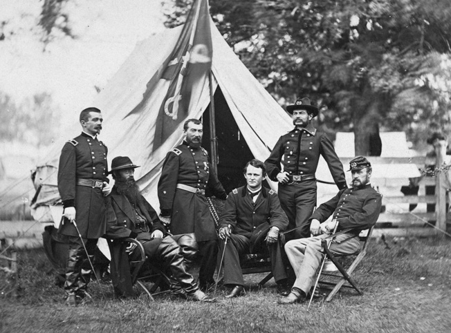 Major General Phil Sheridan, third from left, with his subordinate commanders: Henry E. Davies, David M. Gregg, Wesley Merritt, Alfred Torbert, and James H. Wilson.
