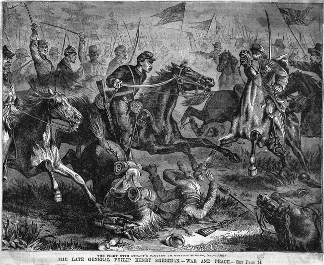 Union and Confederate forces come together at sword point in this period engraving of the Battle of Yellow Tavern, six miles north of Richmond.