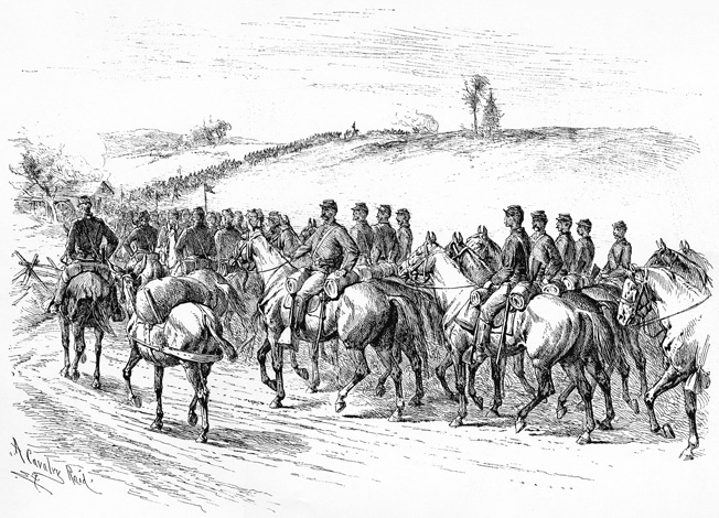 An orderly, disciplined Union cavalry division rides smartly through enemy territory in this drawing by Edwin Forbes. Sheridan's raid on Richmond included over 10,000 troopers, plus 32 pieces of artillery.