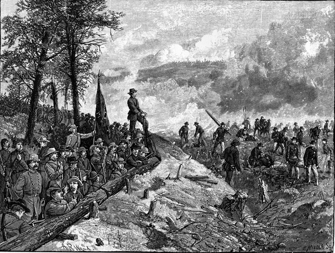 Confederate Colonel William Martin of the 1st/15th Arkansas Regiment (Consolidated), shown standing on the parapet, waved a white handkerchief to signal a halt to the fighting after the repulse of the Union attack in front of his section of the entrenchments. The brief ceasefire allowed both sides to move the wounded out of harm's way.