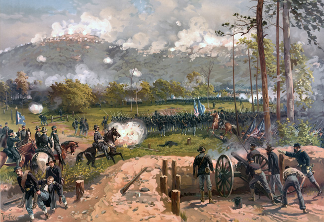 Union Maj. Gen. John Logan on horseback watches the assault of his XV Corps on June 27. The pluck of the Union soldiers was no match for Confederates protected by strong field fortifications.