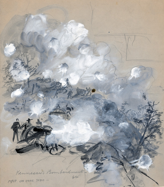 Southern gunners fire furiously from commanding positions at the advancing Federal lines during the June 27 attack in a sketch by battlefield artist Alfred Waud.