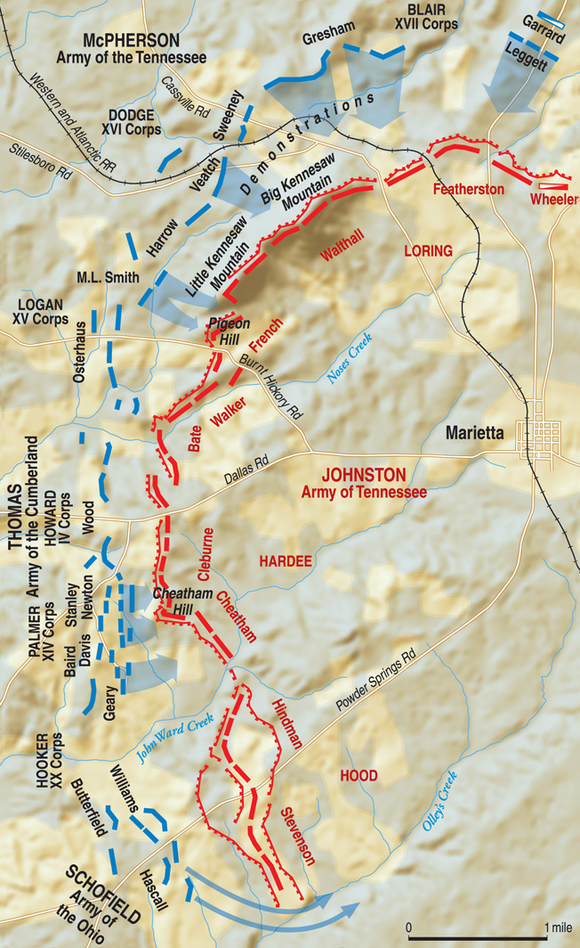 Believing the Confederate line was stretched too thin, Union commander Maj. Gen. William T. Sherman planned diversionary attacks on the Confederate flanks with the main attack aimed at the Confederate center.