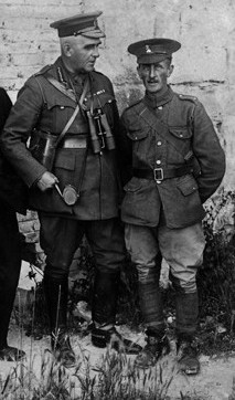 Sir Sam Hughes, left, Canada's minister of militia and defense, photographed at the Somme in August 1916.