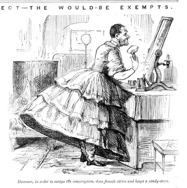 A political cartoon shows a man dressing as a woman to avoid the draft.