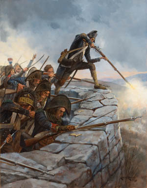 """During intense fighting on April 11, 1796, at the mountaintop redoubt of Monte Negino, French Corporal Rouach climbed onto a parapet shouting, """"Cowards! I'll show you how a good soldier should die!"""" This rallied the wavering French troops in the face of a determined Austrian assault."""