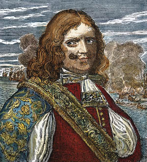 Sir Henry Morgan, depicted in a period engraving, plundered the Spanish Main.