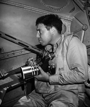 Photographer/war correspondent Ralph Morse in naval aviation uniform on assignment in 1954.