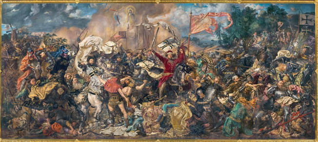eutonic Grand Master Ulrich von Jungingen, astride his white horse at left, is slain with a lance thrust into his neck in a 19th-century painting by Polish artist Jan Matejko. After he was slain, the Teutonic forces withdrew for a last stand at their camp.