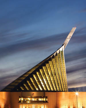 The soaring 210-foot spire at the Marine Corps Museum symbolizes the flag-raising at Iwo Jima in World War II.
