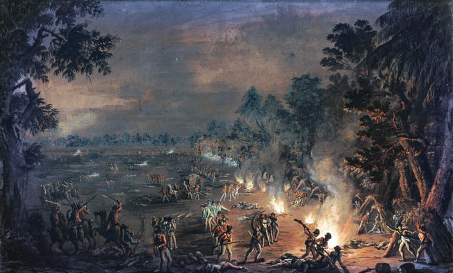 The savage night attack by British light infantry on an American camp at Paoli, Pennsylvania, is depicted in a period painting by Xavier Della Gatto. To ensure the element of surprise, British Maj. Gen. Sir Charles Grey instructed his men not to fire their weapons but instead to rely on their bayonets.