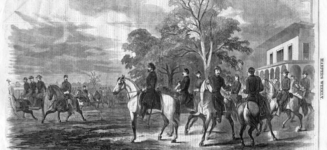 Western Department commander Maj. Gen. John C. Frémont and his staff make a spruce appearance at Camp Benton in St. Louis. Despite political pressure from Washington, Frémont took his time marching to Lexington.