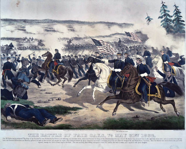 "Union Brig. Gen. Edwin ""Bull"" Sumner, mounted on a white horse at center, directs his II Corps during the heat of battle in this romanticized Currier & Ives lithograph. Sumner's son-in-law, Colonel Armistead Long, was a staff officer for Robert E. Lee."