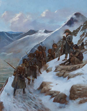The Ligurian Alps dividing Piedmont and Liguria posed a tactical nightmare for commanders during the protracted campaigning in the region. A French patrol at the mercy of subfreezing temperatures conducts a patrol during the years of stalemate before Bonaparte arrived.