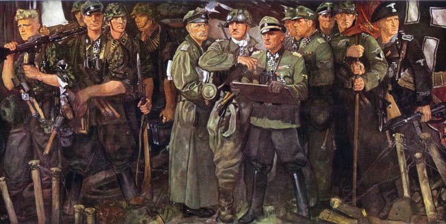 "General Josef ""Sepp"" Dietrich (center, holding map board), commander of the LAH, is shown in a wartime painting surrounded by his officers and men."
