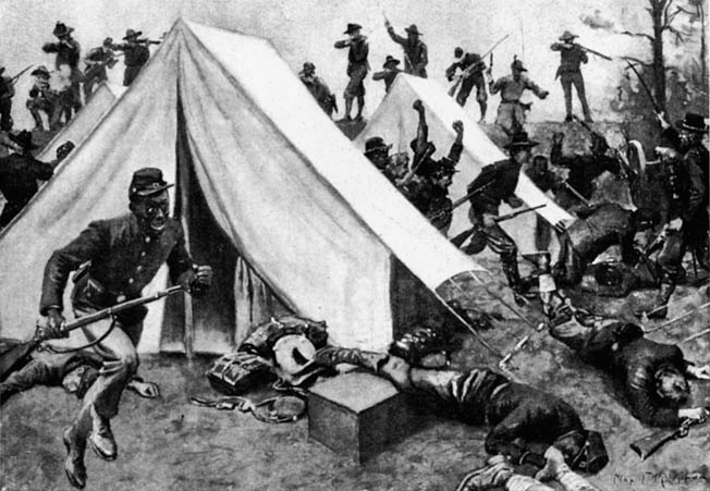 Panicky Union troopers break for the Mississippi River as Confederates overrun their tent camp and fire into their ranks at Fort Pillow. Most of the casualties occurred during the confused flight to the river.