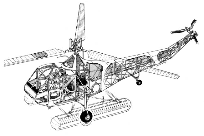 This cutaway drawing of the Sikorsky  R-4 reveals the mechanics of this early generation helicopter.