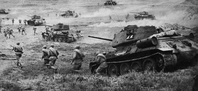 Soviet T-34 tanks attacking in the Odessa region in April 1944. Ukrainian Front.