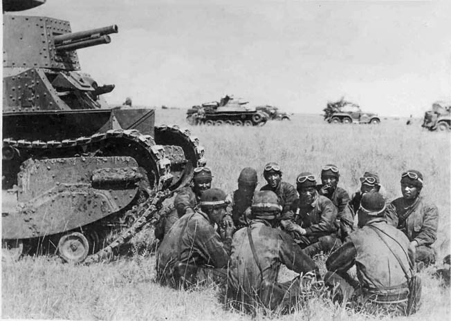 The Japanese Type 89 medium tank with its 57mm cannon and thin armor was a poor match against the Soviet BT 5 and BT 7 tanks.