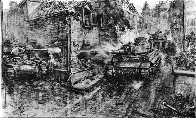 Illustration showing a battle between German Tiger tanks and British tanks and infantry in the village of Villers Bocage, Normandy, June 1944. A British tank (on left), which might be a Cromwell or Sherman, is shown knocking out one German Tiger (centre) by shooting through a hole in the corner house. Another Tiger tank (right) is coming under fire from British machine guns and PIAT's, some of whom can be seen extreme right. This illustration was drawn by Captain Bryan de Grineau, the Illustrated London New's artist, from a description given to him by an eye-witness, Mr. Tom Treanor of the 'Los Angeles Times'. Date: 1944