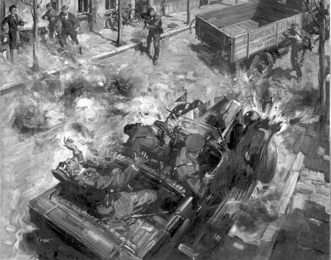 British war artist Terrence Cuneo painted this inaccurate image of the attack on Heydrich, perhaps before details of the event were known in London. Several Czechs are shown firing at Heydrich's car. In reality, only one gun, a Sten carried by Josef Gabcik, was leveled at the car, and that weapon failed to fire.