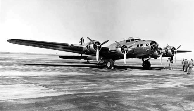 A Boeing B-17D Flying Fortress sits on the tarmac at Clark Field in 1941. B-17s and other heavy bombers gave U.S. forces the ability to strike targets in China and Formosa.