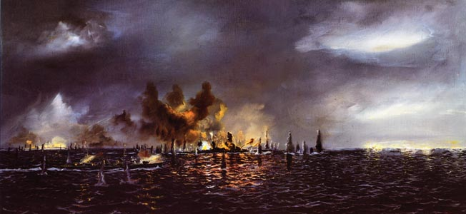 In this painting by artist John Hamilton, Japanese ships are shown under direct fire from the U.S. Navy battle line under the command of Admiral Jesse Oldendorf at Surigao Strait. The battle took place in the early morning hours of October 25, 1944, and destroyed the southern pincer of the Japanese attack on  the American support fleet and landing beaches on the Philippine island of Leyte.