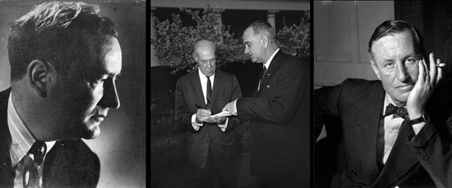 Left to right: Canadian William Stephenson headed up British intelligence activities in the U.S. Journalist Drew Pearson, shown during the 1960s with President Lyndon B. Johnson, broke the infamous story of General Patton slapping soldiers in Sicily. Veteran British Intelligence officer Ian Fleming credited Ernest Cuneo with creative contributions to some of his best-known James Bond spy novels.