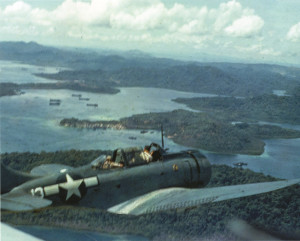 A U.S. SBD Dauntless dive-bomber cruises over the Solomons. The Dauntless wreaked havoc on Japanese shipping and contributed heavily to turning the tide in the Pacific.