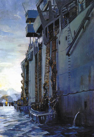 U.S. Marines descend cargo nets before being ferried ashore by landing craft in this painting by artist William Draper.